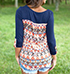 Womens Cotton Knit Blouse – Navy Blue / Decorative Floral Touches